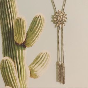 Lucky Brand crystal bolo tassel necklace